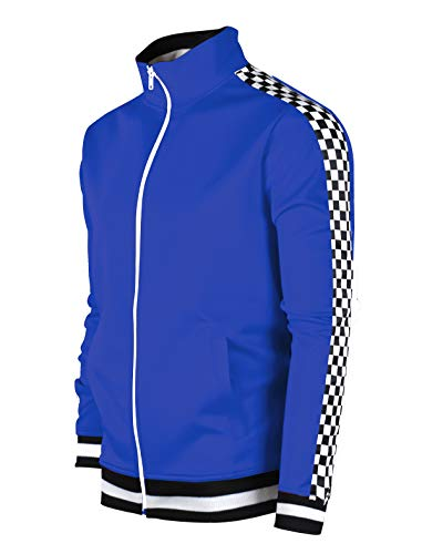 SCREENSHOTBRAND-F11854 Mens Urban Hip Hop Premium Track Jacket - Slim Fit Checker Taped Block Fashion Top-Royal-Small by SCREENSHOT