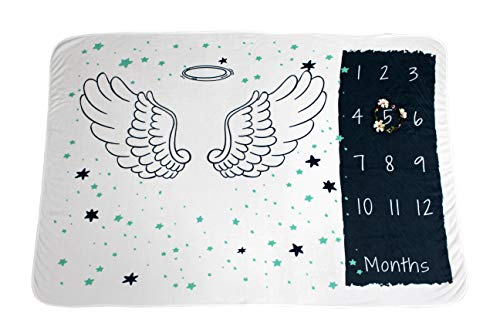 Summit One Baby Monthly Milestone Blanket with Angel Wings, 1-12 Months (60 x 40 Inch) - Includes Flower Wreath Photography Prop - Large Super-Soft Fleece Newborn Backdrop Blankets for Boy or Girl ()