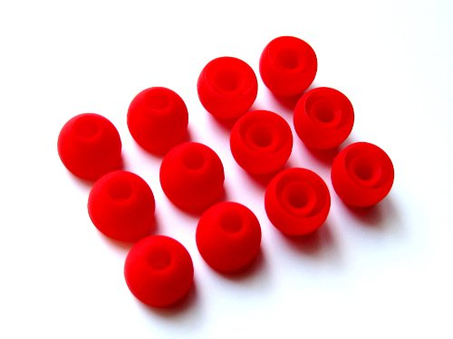 12pcs: Medium (M) Red Replacement Eartips Earbuds for Monster Beats Dr. Dre Tour, Powerbeats, urBeats 2.0, HeartBeats 2.0 (Lady Gaga), DiddyBeats and Turbine Pro, Gratitude, DNA, Diesel VEKTR, iSport Victory, iSport Immersion, Inspiration, ClarityMobile, NCredible N-Ergy In-Ear Stereo Earphones