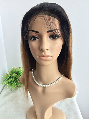 CHINESE VIRGIN HAIR,14 INCH,LIGHT YAKI FULL LACE WIGS SILK TOP BLEACHED KNOTS by April silk top wigs (Image #4)
