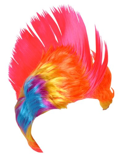 (Adult Rainbow and Pink School and Team Spirit Mohawk Wig)