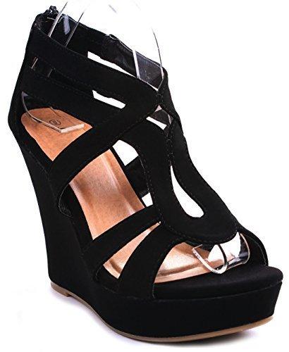 JJF Shoes Lindy-3 Black Strappy Nubuck PU Comfort Gladiator Dress Platform High Wedge Sandals-7