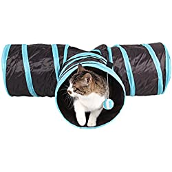 Meiying Pet Toy Collapsible 3 Way Cat Tunnel with Ball-Small Animals for Fun