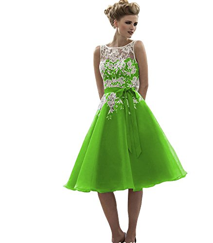 Dresses 2016 A reg; Bridesmaid Gown Organza Line Bridal Lace Lime Prom Aurora Short PvpqCwRHn