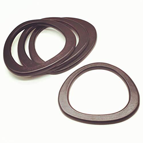 Model Worker 4PCS Wooden Oval Shaped Handles Replacement for Handmade Bag Handbags Purse Handles (Dark Brown)