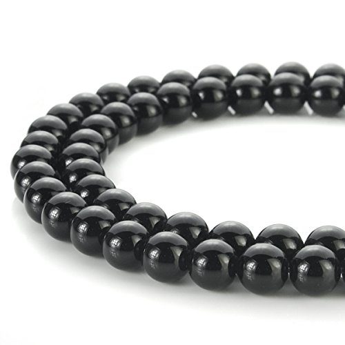 6mm Black Agate Round Beads - 2
