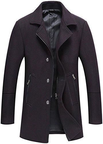 Chouyatou Men's Classic Notched Collar Button-Zipper Front Wool Blend Midi Pea Coats (Darkpurple, X-Small)