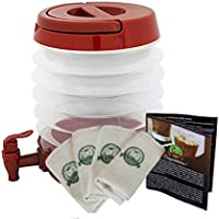 Pop-a-Brew! Madesco Coldbrew Coffee Filters 4-pack and Collapsible Brewer/Dispenser, 3 Coldbrew Coffee Recipe Books