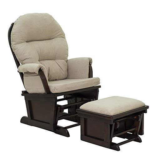 HOMCOM Nursery Glider Rocking Chair with Ottoman Set - Beige/Dark Coffee