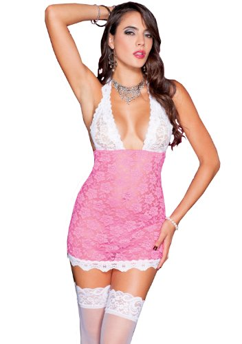 Music Legs Women's Lace Halter Neck Chemise, Pink/White, One Size