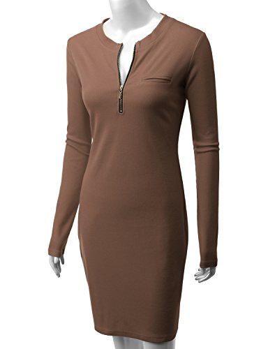 Ribbed Dress Womens Zipper cocoa Cwdsd079 Knit Sleeve With Long Front Doublju TwtA1qA
