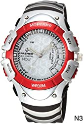 """Dual Displays Water-proof LED Pointers Sports Watch High Quality White and Red (""""901748-LED-008-02-GZJM"""")"""