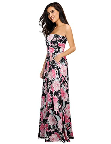 Leadingstar Women's Strapless Vintage Floral Maxi Dress (Black Flower, XL)
