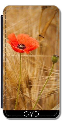 Leder Flip Case Tasche Hülle für Apple Iphone 7 / Iphone 8 - Mohn In Einem Maisfeld Golden by UtArt