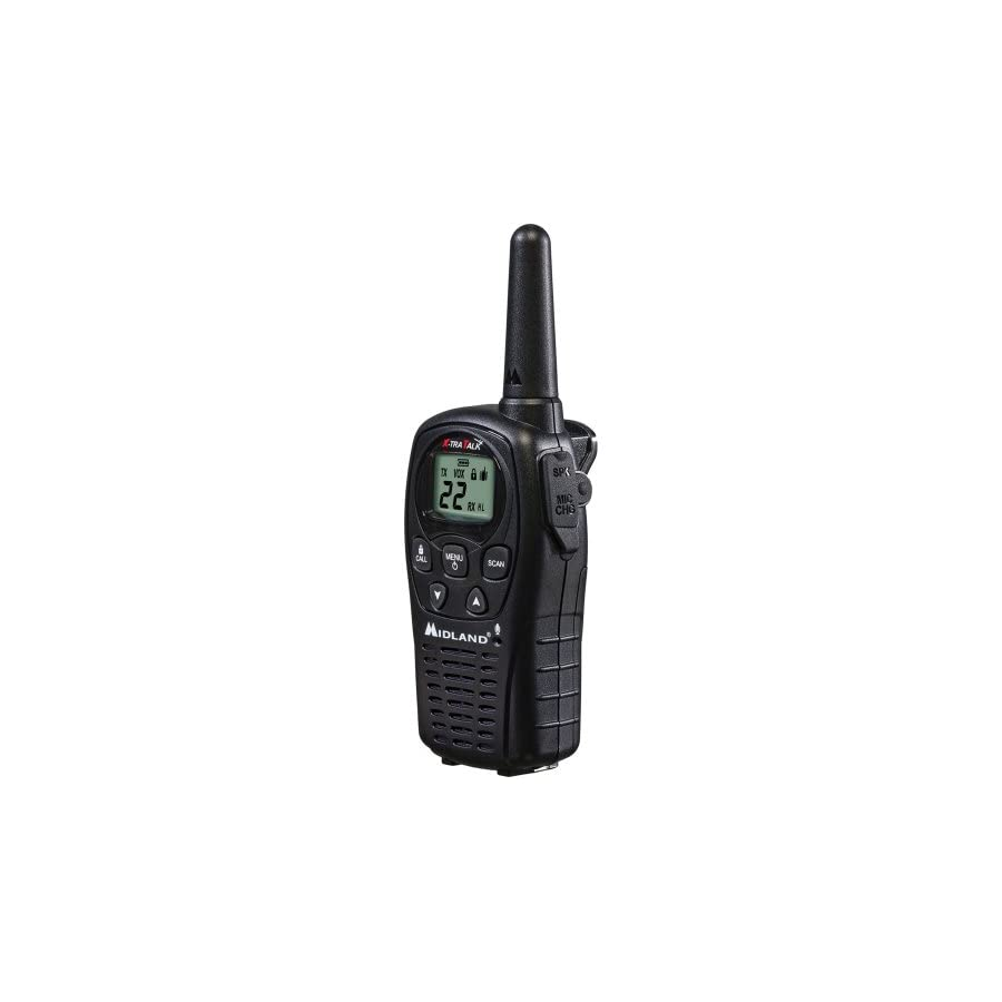 Midland LXT500VP3, 22 Channel FRS Two Way Radio with Channel Scan Up to 24 Mile Range Walkie Talkie, Silent Operation, Water Resistant (Pair Pack) (Black)