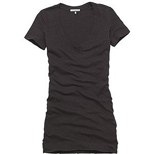 JAMES PERSE Dress Black Color Cotton Rolled Sleeve T Shirt Dress 1