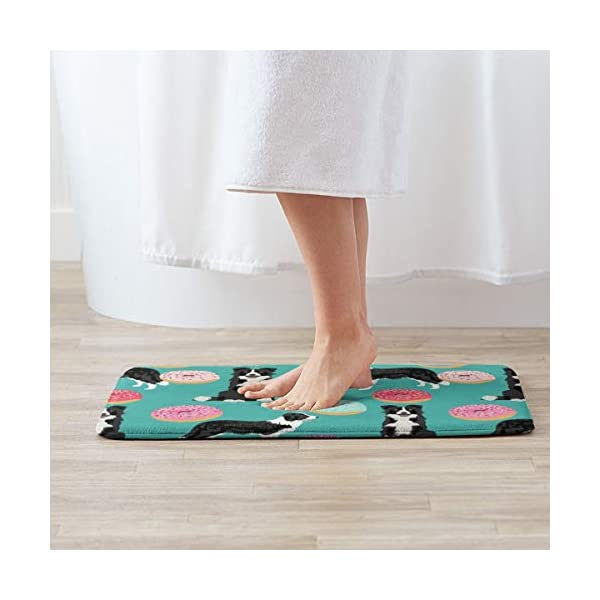 "Border Collie Dogs Donut Fabric Cute Donuts Design Cute Border Collies Fabrics Border Collies Fabrics Floor Bath Entrance Rug Mat Absorbent Indoor Bathroom Decor Doormats Rubber Non Slip 15.7"" X 23.5"" 2"