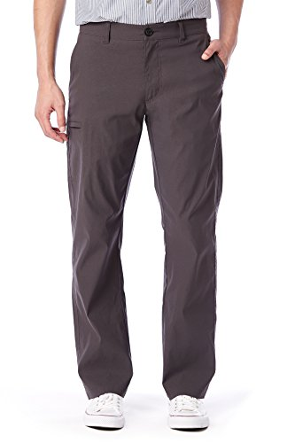 UNIONBAY Men's Lightweight Comfort Waist Travel Tech Chino Pants, Charcoal, 34x30