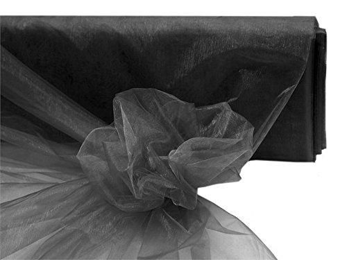 BalsaCircle 54-Inch x 40 yards Black Sheer Organza Fabric by the Bolt - Wedding Party DIY Sewing Craft Draping Supplies - Black Sale Custom Roll Runner