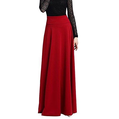 Etosell Femme Long De Taille Haute Stretch Oversize Longueur Jupe Rouge