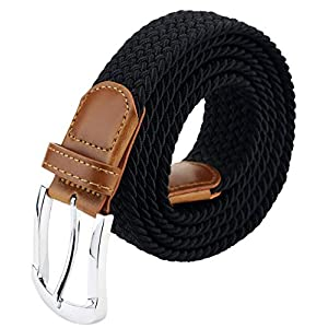 Mens Belt, Elastic Braided Belts for Mens, Stretch Woven Belt With Leather Tip