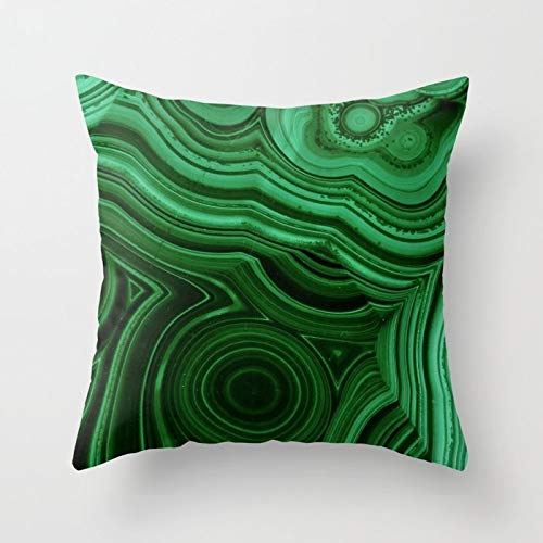 Green Malachite Stone Pattern Decorative Throw Pillow Covers Square Cotton Pillowcases for Bedroom Sofa and Car 18