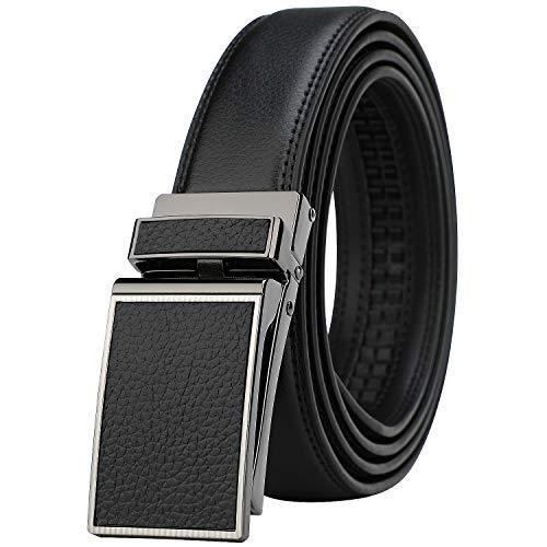 (Men's Comfort Genuine Leather Ratchet Dress Belt with Automatic Click Buckle (Suit Pant Size 28