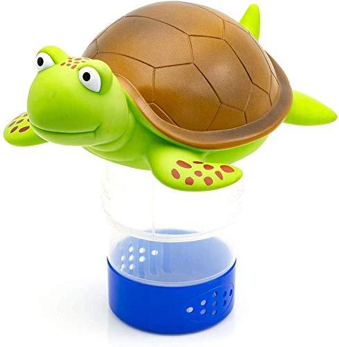 "WWD Premium Animal Floating Pool Chlorine Dispenser for Chemical Tablets Fits 3"" Tabs Bromine Holder (Turtle)"