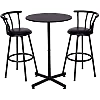 COSTWAY 3 Piece Bar Table Set with 2 Stools Bistro Pub...