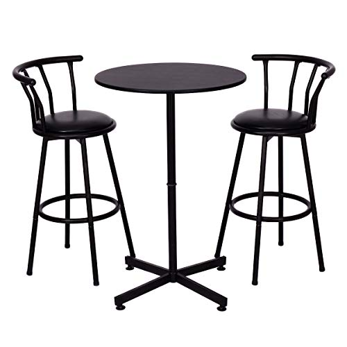COSTWAY 3 Piece Bar Table Set with 2 Stools Bistro Pub Height Circular Table and Chairs Set Kitchen Dining Furniture, Black