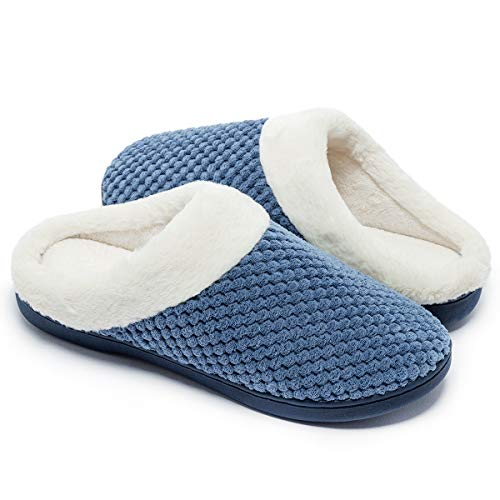 - Women's Slippers Comfort Memory Foam Coral Fleece Slippers Plush Lining House Shoes for Indoor & Outdoor (Light Blue, L)