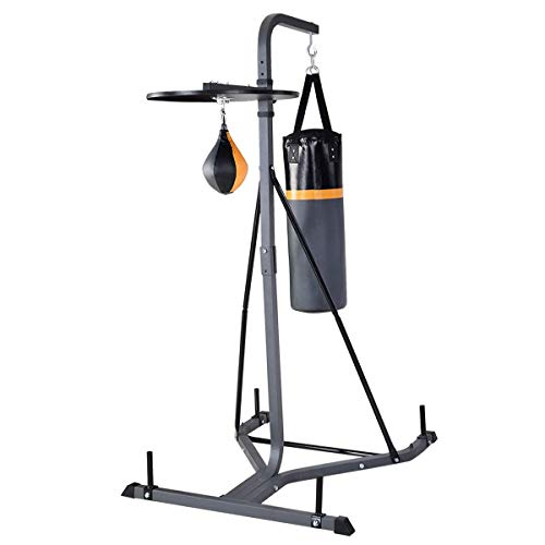 GYMAX Punching Bag, Heavy Bag Stand Kit 2 in 1 Boxing Frame with Speed Bag, for Training Boxing