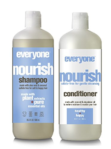 EO Everyone Sulfate Free Nourish Shampoo and Conditioner Bundle with Coconut Fruit Extract, Lemon Peel Oil, Matricaria Flower and Organic Aloe Barbadensis Leaf, 20.3 fl. oz. each ()