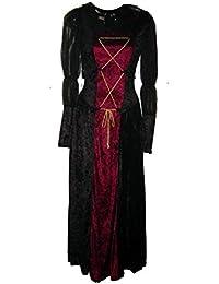 Renaissance Lady Velvet Dress Black & Wine 01466