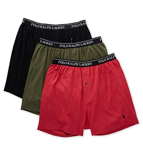 Polo Ralph Lauren Classic Fit Cotton Knit Boxers - 3 Pack (RCKBS3) M/Sunrise Red/Sage/Black