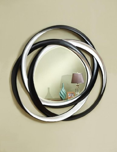 Coaster Transitional Black/Silver Two-Tone Wall Mirror
