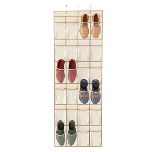 Simplized Over The Door Hanging Shoe Organizer | 24-Pocket Holder Rack with Breathable Mold-Resistant Fabric and Hooks | Space-Friendly Storage for Shoes, Hair Accessories, Craft Supplies and More