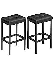 VASAGLE Bar Stools, Set of 2 PU Upholstered Breakfast Stool, 15.7 x 11.8 x 24.4 Inches ULBC068B81