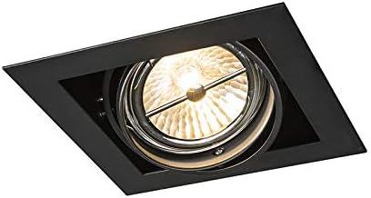 QAZQA Diseño Foco empotrable cuadrado negro ajustable 1 luz Oneon 111 1 Acero Cuadrada Adecuado para LED Max. 1 x 50 Watt