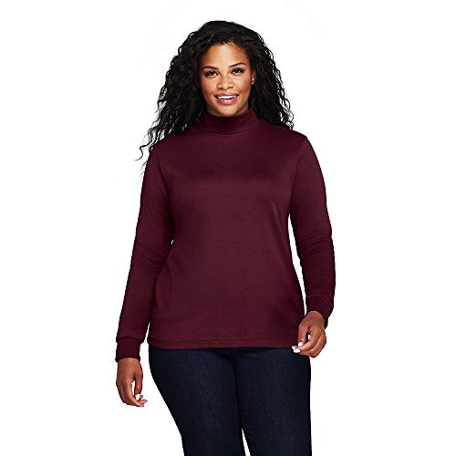 Mock Turtleneck Ladies Interlock (Lands' End Women's Plus Size Relaxed Cotton Mock Turtleneck, 1X, Deep Claret)