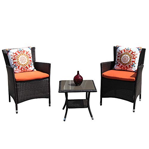 Patiorama Patio Porch Furniture Set 3 Piece PE Brown Rattan Wicker Chairs Orange Cushion Glass Coffee Table Outdoor Garden Furniture Sets