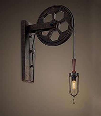 outlet store 77f48 04754 Kiven Industrial Pulley Wall Sconce Steampunk Wall Light Rustic Lighting  (BD0085)