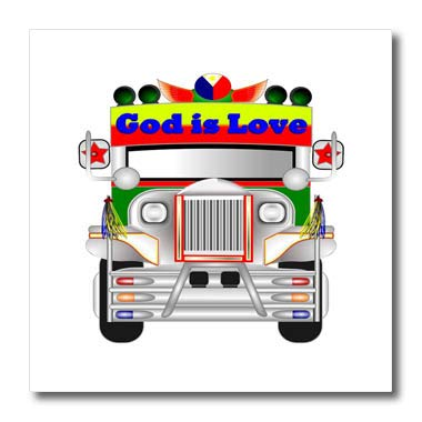 - 3dRose Lens Art by Florene -Neon - Image of Neon Truck with Religious Message - 6x6 Iron on Heat Transfer for White Material (ht_291447_2)