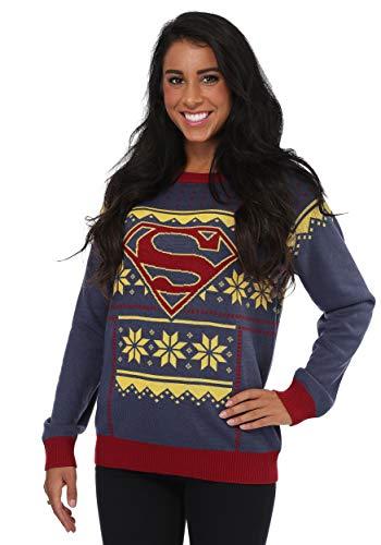 FunComInc Women's Superman Ugly Christmas Sweater X-Large