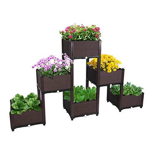 D'vine Dev Planter Raised Beds - Elevated Planter Garden Box for Vegetable/Flower/Herb Outdoor Standing Planter Beds (Patio Raised Designs)