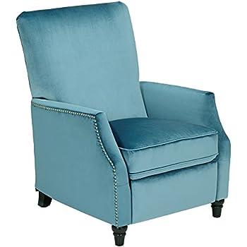 Amazon Com Katy Turquoise Velvet Push Back Recliner Chair