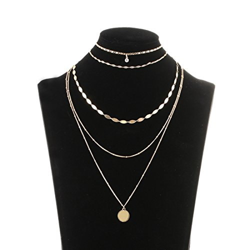 Lariatneck Layered Choker Necklace Gold Multilayer Necklace for Women Coin Pendant Chain Choker Set of 2