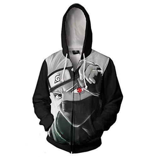 CHENMA Men Naruto Naruto Kakashi Long Sleeve Full-Zip Bomber Jacket Hooded Varsity Jacket (M/US S, - Vinyl Long Jacket Sleeve