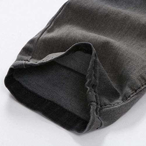 Chiusura Libero Buco R Uomo Denim Jeans Feroce Pantaloni Lanceyy Con Grau Per Nge Stile Da Distrutti Sportivi Il Semplice Tempo AxqXan