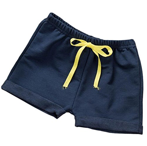 (Hwafan Toddler Baby Boys Girls Solid Color Summer Sport Jogger Active Shorts Pants Navy Blue 18-24)